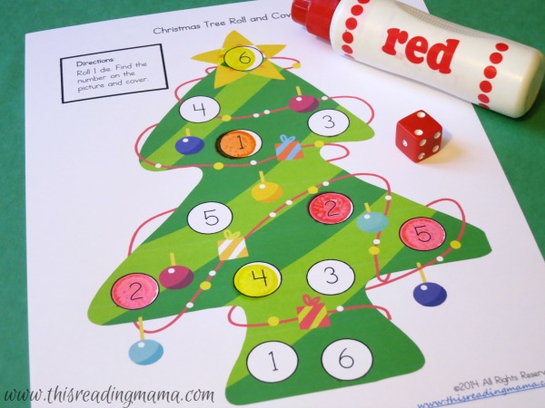 roll and cover math game for Christmas