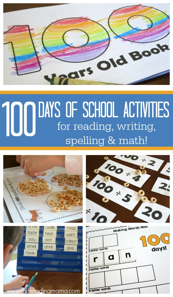 100th Days of School Activities for Reading, Writing, Spelling & Math {FREE Printable Pack Included} | This Reading Mama