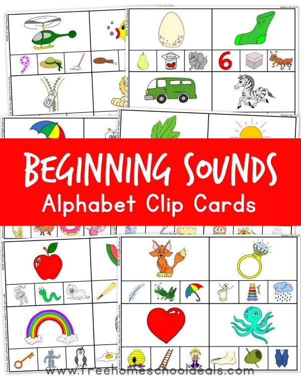 FREE Beginning Sounds Alphabet Clip Cards