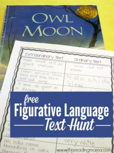 Figurative Language Text Hunt with FREE Printable Pack - This Reading Mama