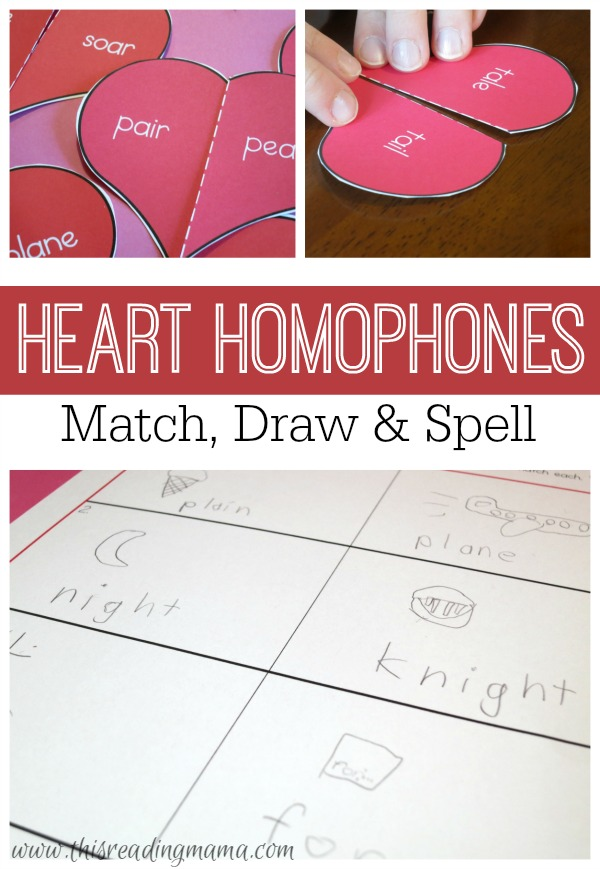 Heart Homophones {FREE} - Match, Draw and Spell - This Reading Mama
