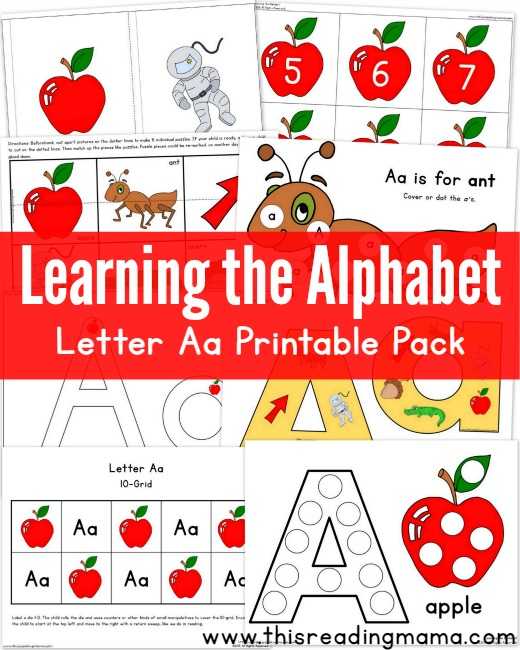 Learning the Alphabet Letter A Printable Pack