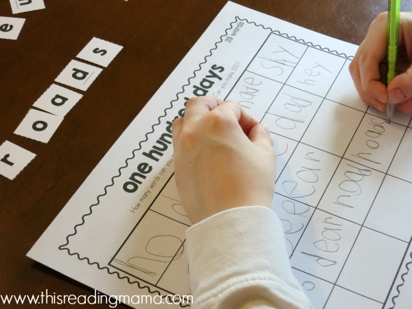 spelling words with the phrase one hundred days