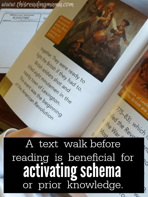 taking a text walk to activate schema before reading