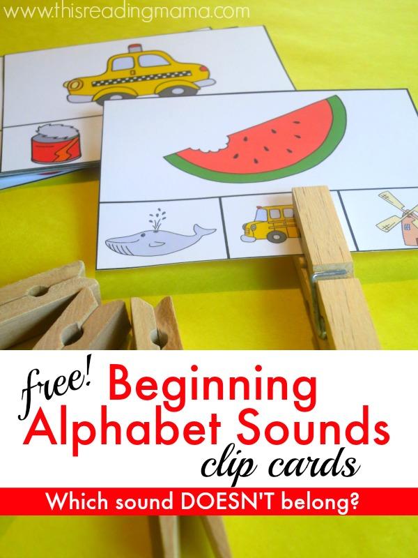 free beginning alphabet sounds clip cards