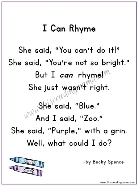 I Can Rhyme ~ A Silly Rhyming Poetry Pack