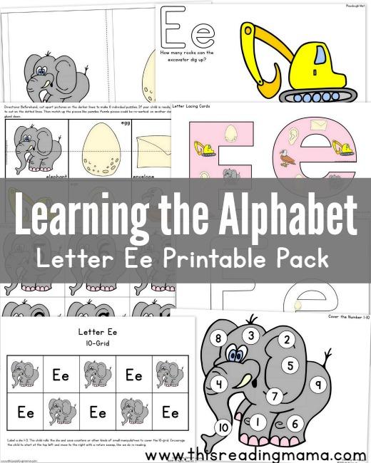 Learning the Alphabet: Letter E Printable Pack