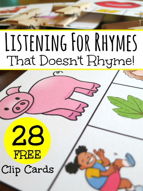 Listening for Rhymes with a Set of 28 FREE Clip Cards - This Reading Mama