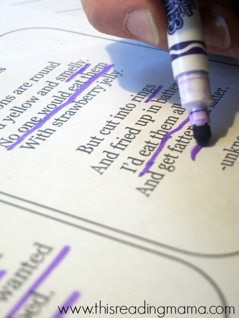 underlining words that helped with visualizing