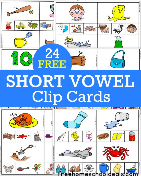 24 FREE Short Vowel Clip Cards - Free Homeschool Deals