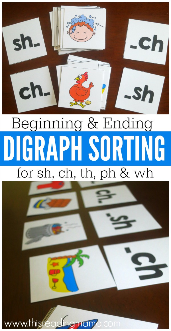 Beginning and Ending Digraph Sorting Picture Cards - FREE - This Reading Mama