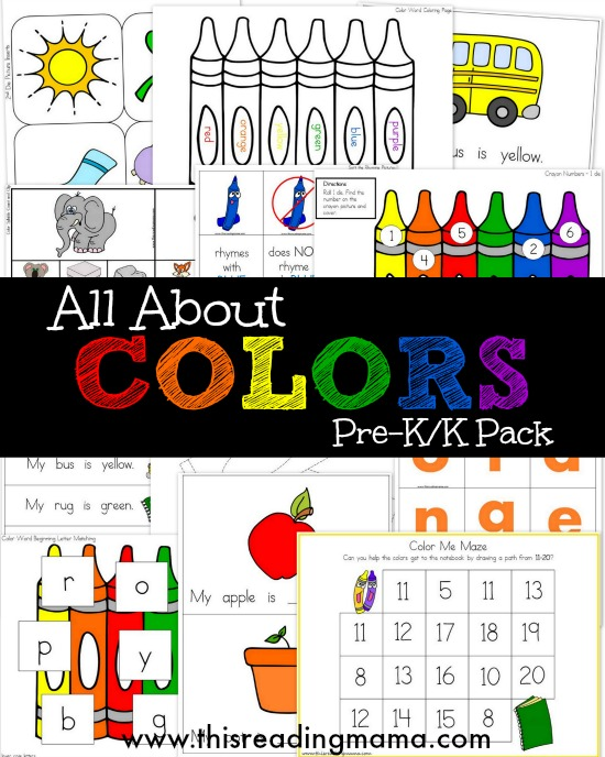 FREE All About Colors Pre-K and K Pack - This Reading Mama