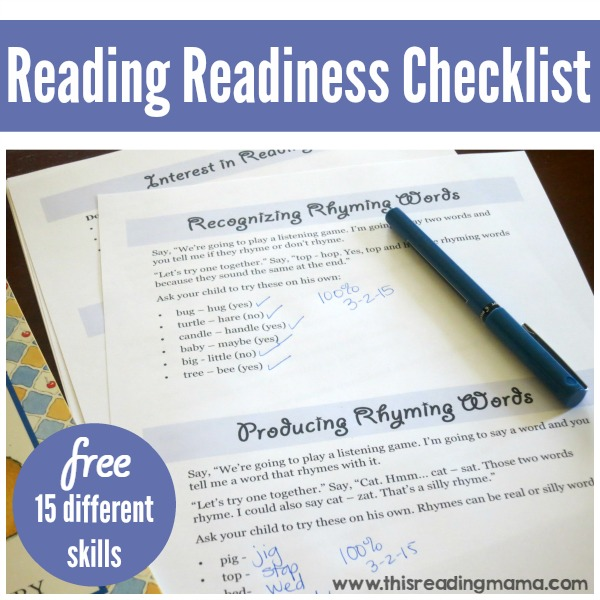 Reading Readiness Checklist - This Reading Mama