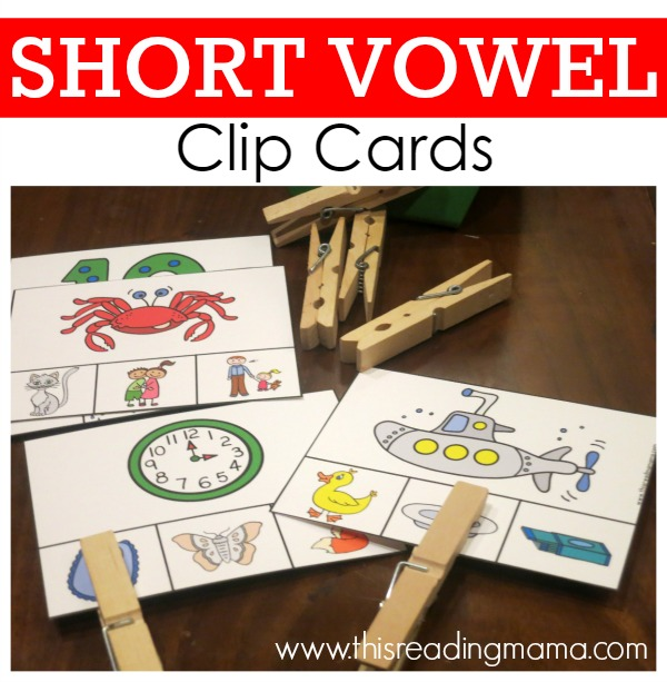 Short Vowel Clip Cards - FREE - This Reading Mama