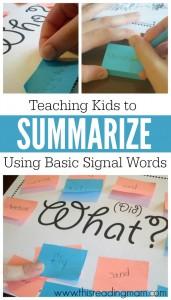 Teaching Kids to Summarize Using Basic Signal Words - FREE printable - This Reading Mama