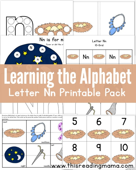 Learning the Alphabet - FREE Letter N Printable Pack - This Reading Mama