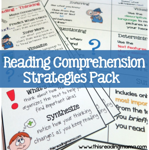 Reading Comprehension Strategies Pack - a newsletter subscriber freebie from This Reading Mama