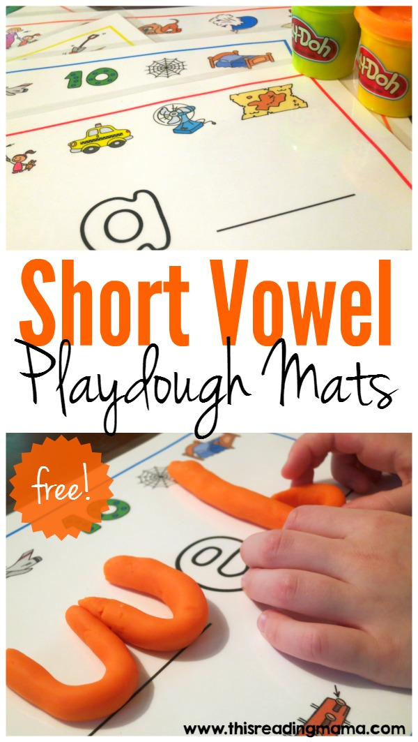 FREE Short Vowel Playdough Mats - This Reading Mama