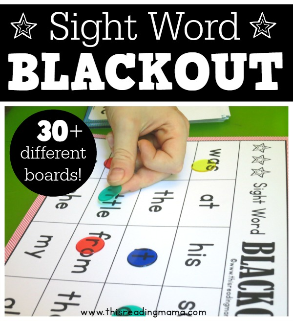 FREE Sight Word Blackout Game - This Reading Mama