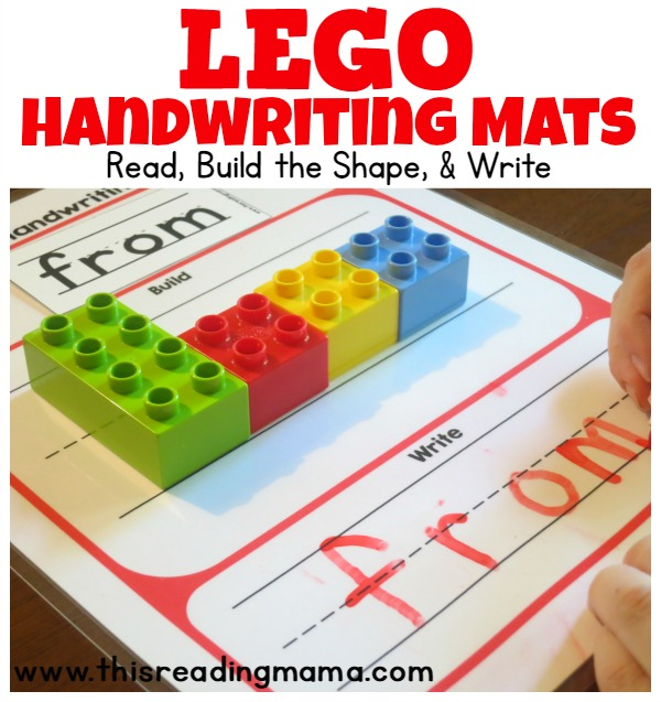 FREE LEGO Handwriting Mats - Read, Build the Shape, and Write | This Reading Mama