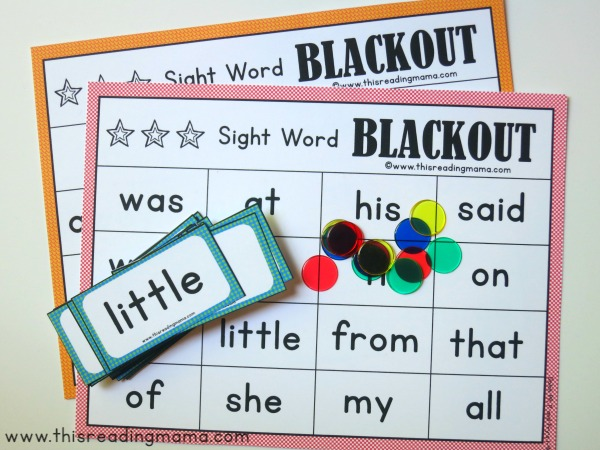 Sight Word Blackout Supplies