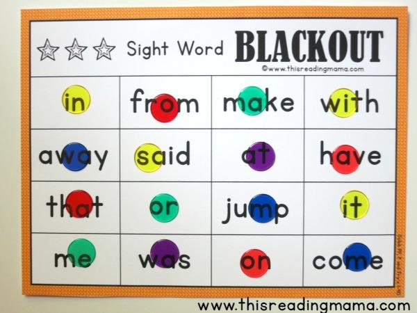 Sight Word Blackout winner