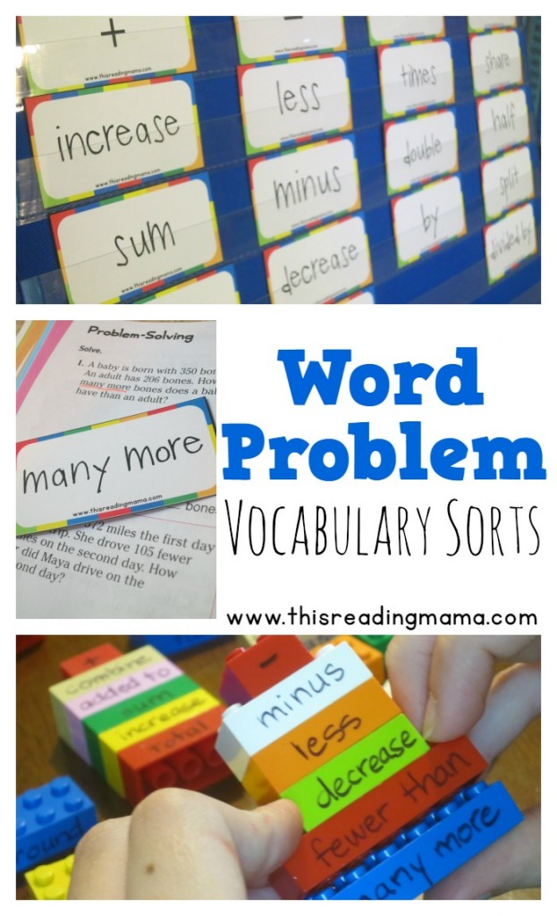 Word Problem Vocabulary Sorts - This Reading Mama