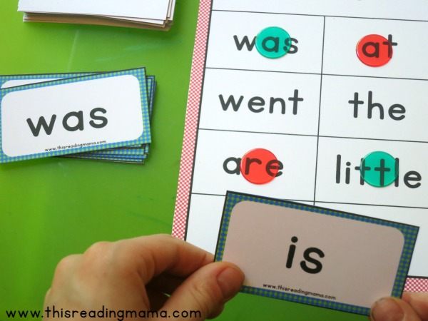 drawing and reading a Sight Word Blackout word card