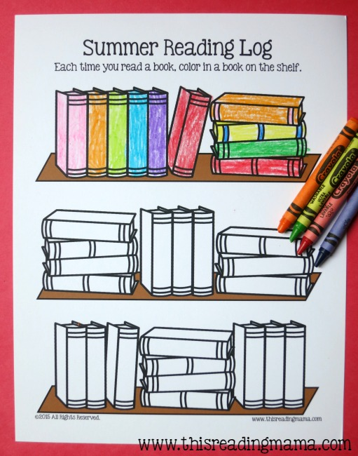 A reading log kids can color Garden club program ideas