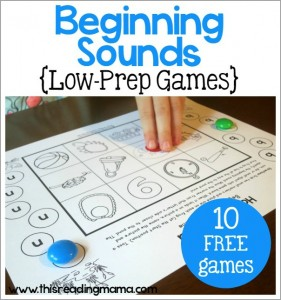Beginning Sounds Games - 10 low-prep games - print and play - This Reading Mama