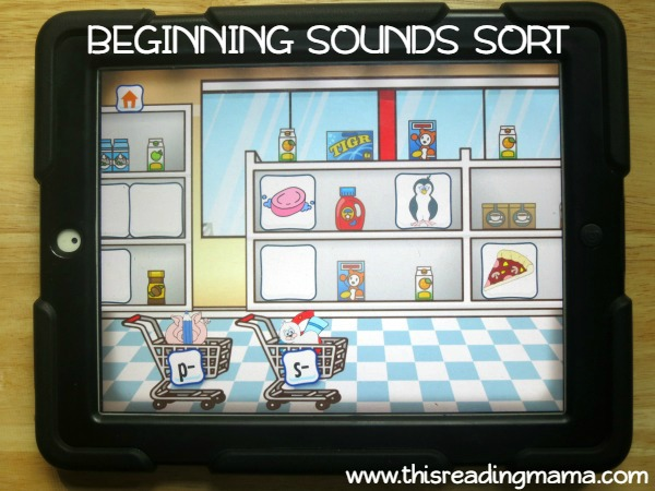 level 1 sorting scene from Alphabet Sounds Learning App - This Reading Mama