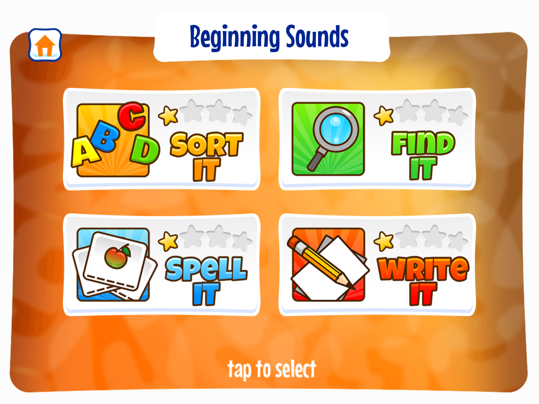 four activities within each level of Alphabet Sounds Learning App