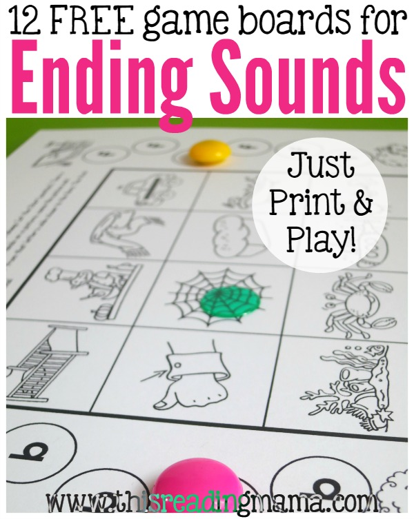 Ending Sounds Games Just Print and Play – Ending Sound Worksheets for Kindergarten
