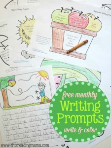 FREE Monthly Writing Prompts – Write and Color