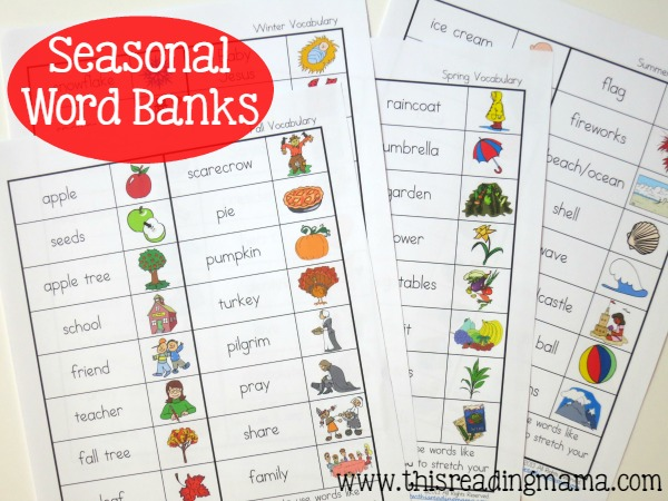 Seasonal Word Banks for Spelling - This Reading Mama