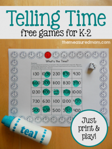 free telling time games for K-2 large