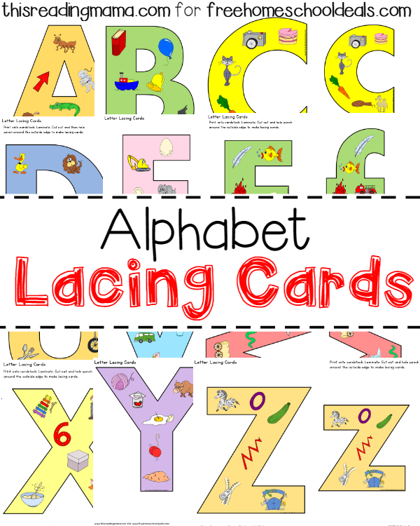 Alphabet Lacing Cards - for upper and lowercase - thisreadingmama for freehomeschooldeals
