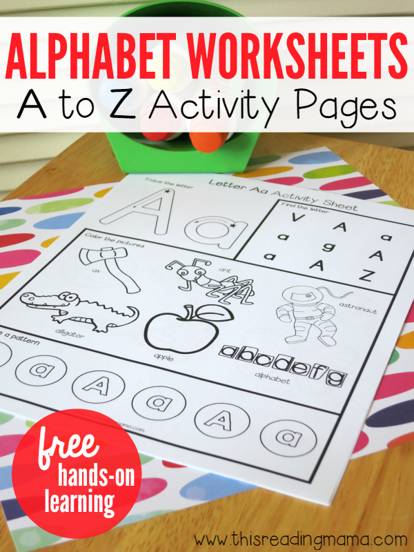 math worksheet : alphabet worksheets  activity pages from a to z : Free Alphabet Worksheets For Kindergarten