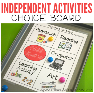 Independent Activities Choice Board {FREE} - This Reading Mama