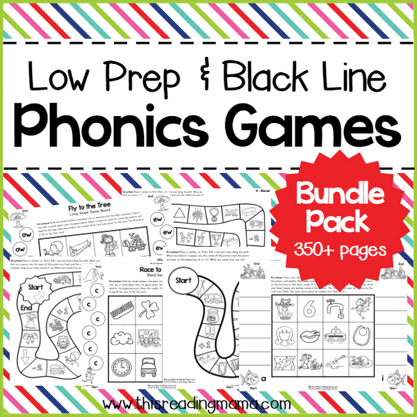 Low Prep Phonics Games Bundle Pack - Great for Home or the Classroom | This Reading Mama
