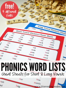 Phonics Word Lists - FREE Cheat Sheets for Short and Long Vowels - This Reading Mama
