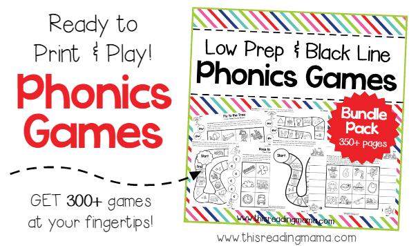 Ready to Print and Play Low Prep Phonics Games - This Reading Mama