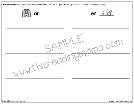 sample spelling page from Low Prep Phonics Games Pack