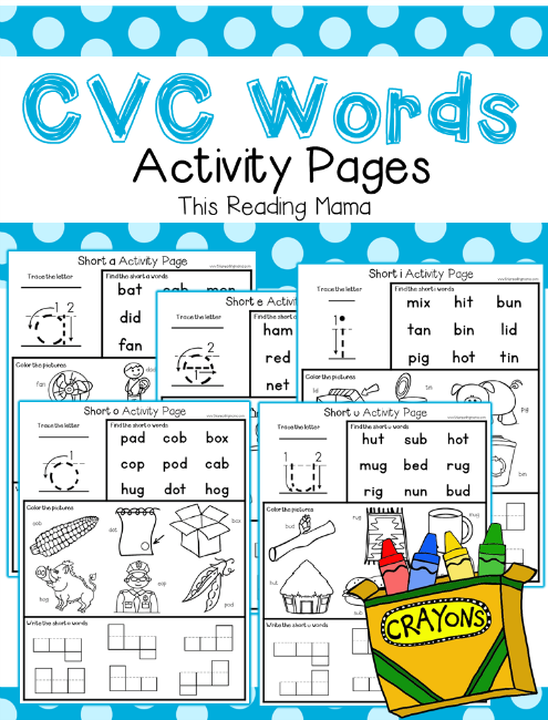 CVC Words Activity Pages Pack - This Reading Mama