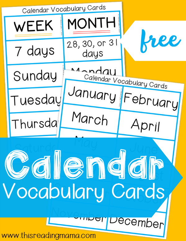 FREE Calendar Vocabulary Cards ~ a simple addition to calendar time | This Reading Mama