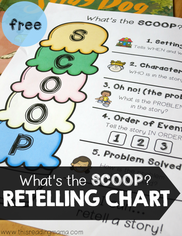 FREE Retelling Chart - Whats the Scoop | This Reading Mama