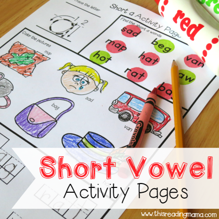 Sample Short Vowel Activity Pages - This Reading Mama