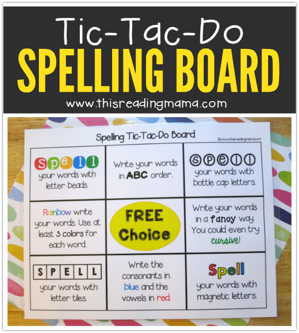 FREE Tic-Tac-Do Spelling Words Board from This Reading Mama