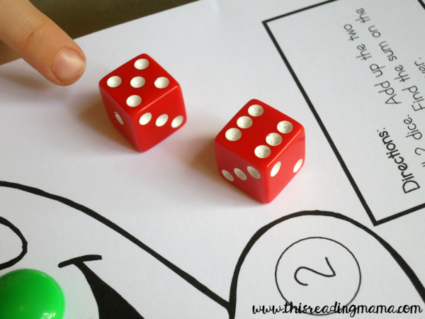 counting on with dice game