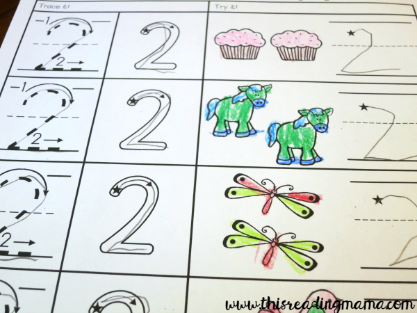 writing numbers - number 2 page